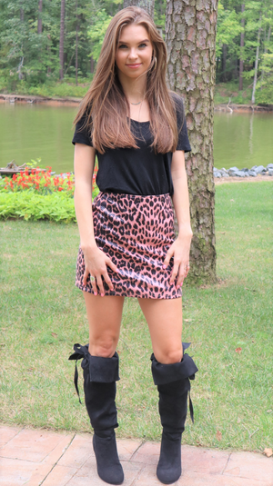 Call Me Wild Mini Skirt Pink Leopard