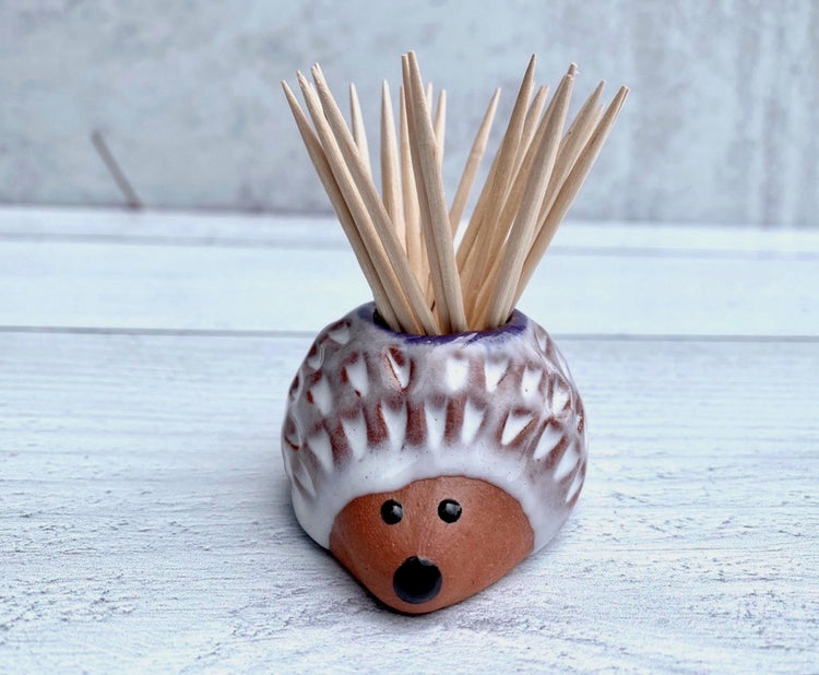 Pottery Hedgehog Toothpick Holder