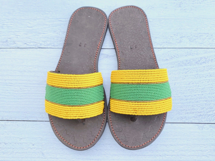 Green & Yellow Beaded Sandals
