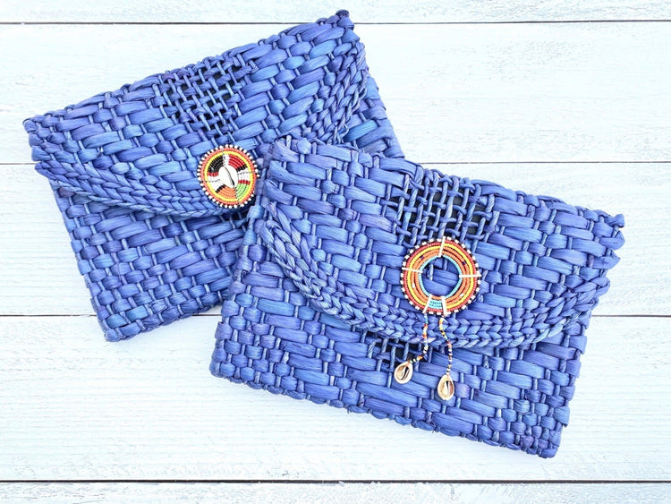 Blue Straw Clutch with Masai Beads