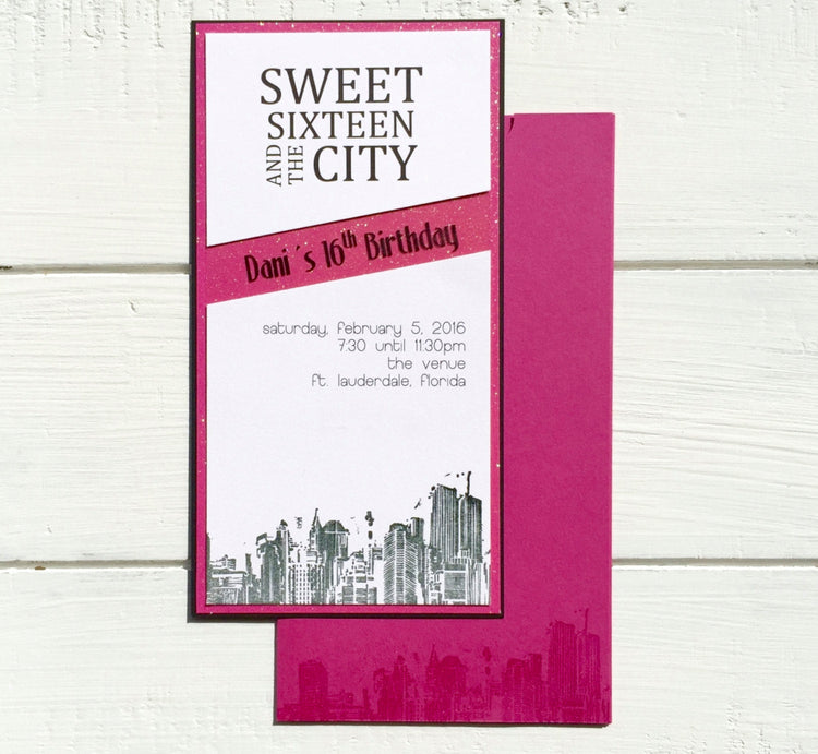Sweet 16 Invitation - Birthday Invitation - Quinceañera Invitation  - Bat Mitzvah Invitation - Shower Invitation - Skyline Invitation
