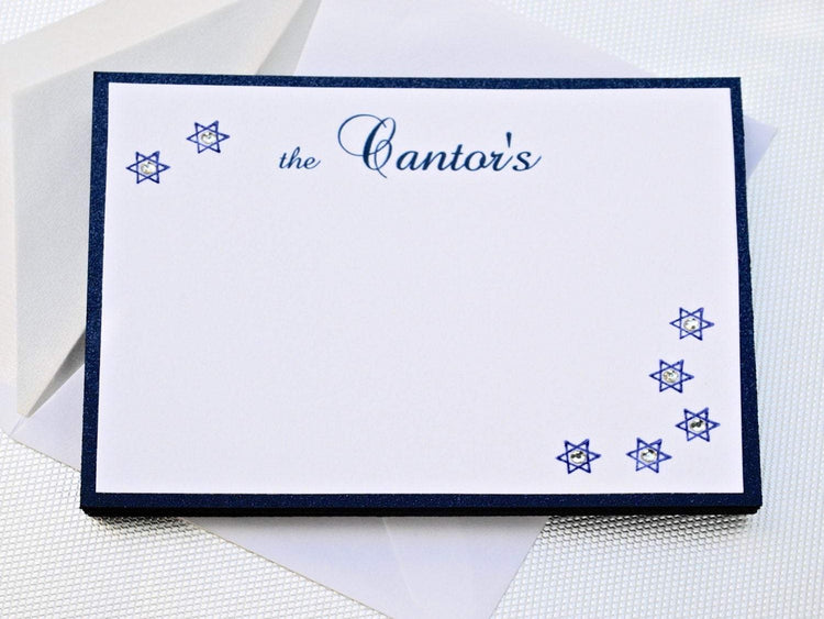 "Personalized Stationery, Set of 8 Holiday Inspired Star of David Notecards Embossed with Crystals, 5 1/2 x 4 1/4"", Special Requests Welcome"