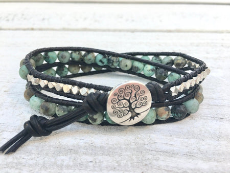 Jasper Beaded Bracelet - Leather Double Wrap - Jasper Bracelet - Jasper Jewelry - Women's Jewelry - Girlfriend's Gift - Men's Jewelry