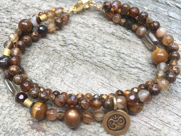 Tiger's Eye Bracelet - Three Strand Bracelet  - Om Charm - Tiger's Eye Jewelry - Women's Jewelry - Girlfriend's Gift - Brown Bracelet