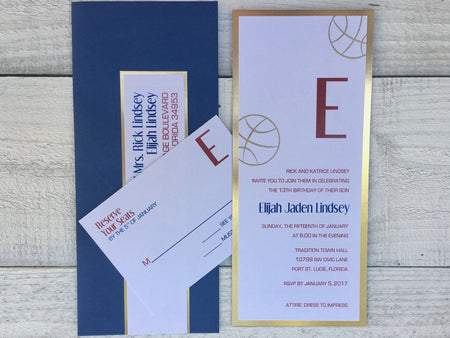 Basketball Bat & Bar Mitzvah Invitation