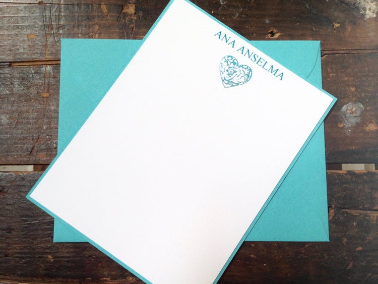 Personalized Note Cards, Heart Note Cards, Heart Stationery, Personalized Stationery, Turquoise Note Cards, Thank you cards, Set of eight.