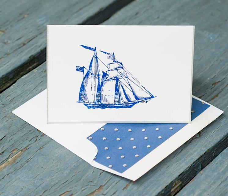 Sail Boat Note Cards, Sail Boat Stationery, Personalized Note Cards, Ship Note Cards, Vintage Ship Note Cards, Thank You Cards, Set of 8