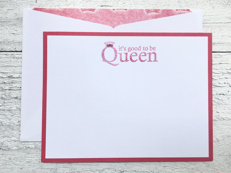 "Note Cards for the ""Queen"",  Personalized Stationery, Handmade Note Cards, Set of 8"