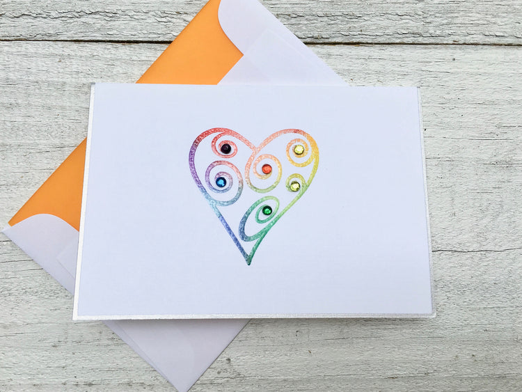 Rainbow Heart Cards - Heart Stationery - Heart Note Cards - Heart Cards - Rainbow Cards - Rainbow Stationery - Rainbow Note Cards