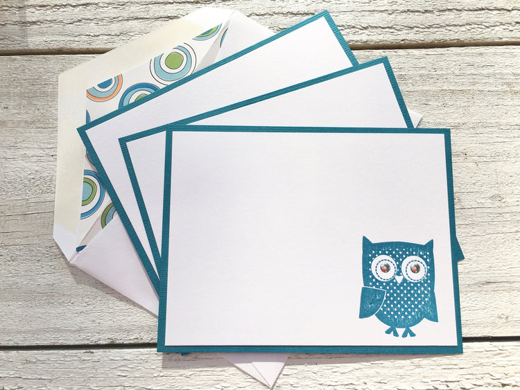 Owl Note Cards, Personalized Note Cards, Flat Note Cards, Thank You Cards, Personalized Stationery, Set of 8