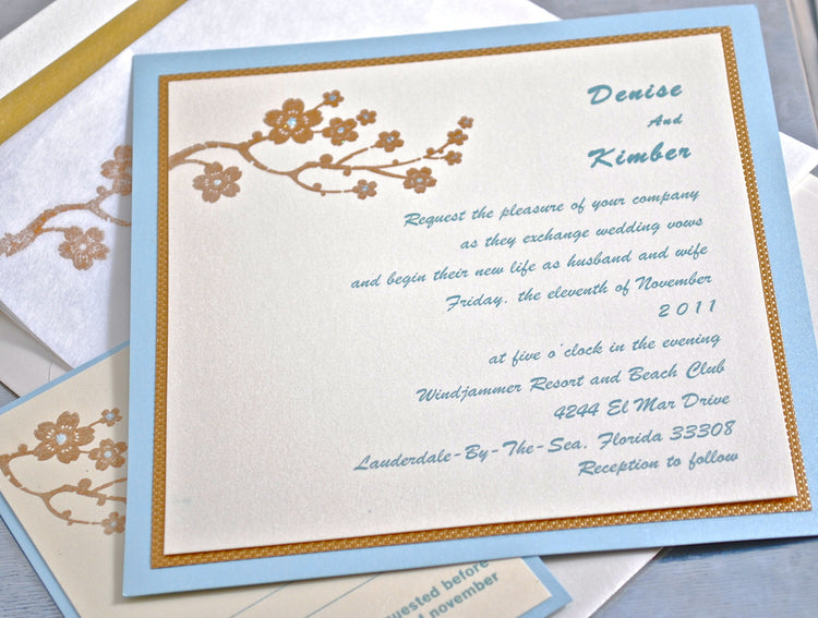 Wedding Invitation - Cherry Blossom Invitation - Flower Invitation - Elegant Invitation - Blue and Gold Invitation - Birthday Invite