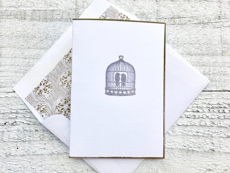 Lovebirds Note Cards - Birdcage Cards - Lovebirds Cards - Birdcage Note Cards - Lovebirds Stationery - Thank You Cards - Blank Note Cards