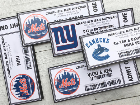 Sports Seating Cards - Sports Place Cards -  Escort Cards - Logo Place Cards - Logo Seating Cards - Bar Mitzvah Accessories - Set of 5