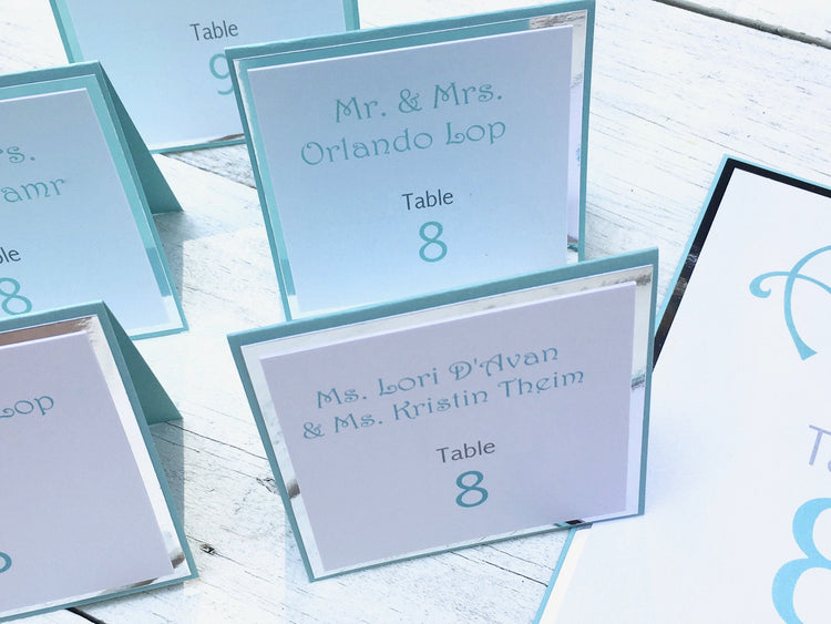 Seating Cards, Table Seating Cards, Turquoise Place Cards, Bat Mitzvah Seating Cards, Table Cards, Wedding Seating Cards, Set of 8
