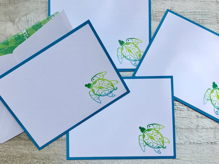 Sea Turtle Note Cards Sea Turtle Stationery Nautical Note Cards Beach Note Cards Personalized Stationery Thank You Cards Set of 8