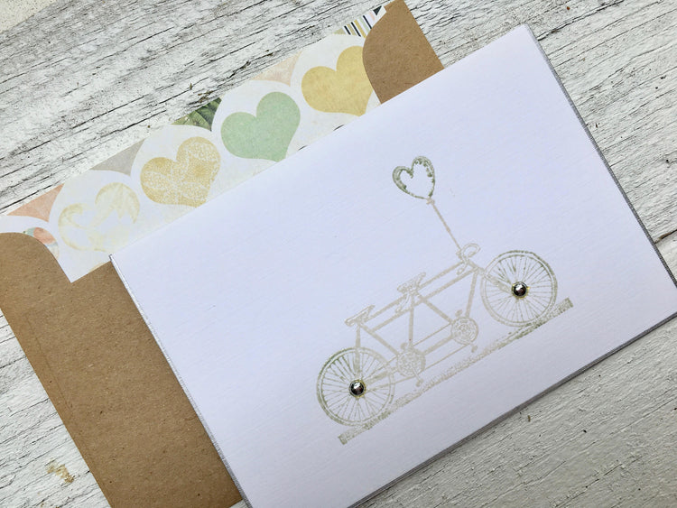 Wedding Note Card - Save the Date Card - Engagement Note Card - Bridal Shower  Card - Tandem Bike Cards -  Love Note Cards -Thank You Cards