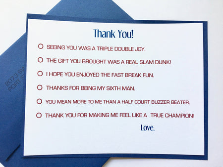 Basketball Themed Thank You Notes