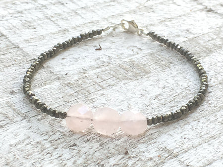 Rose Quartz Bracelet - Silver and Pink Bracelet - Rose Quartz and Pyrite Bracelet - Rose Quartz Jewelry - Pyrite Jewelry - Women's Bracelet