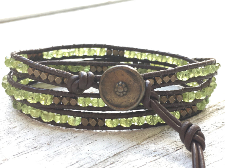 Peridot Leather Wrap - Peridot Bracelet - Peridot Jewelry - Green Bracelet - Leather Wrap - Girlfriend Gift - Women's Gift-August Birthstone