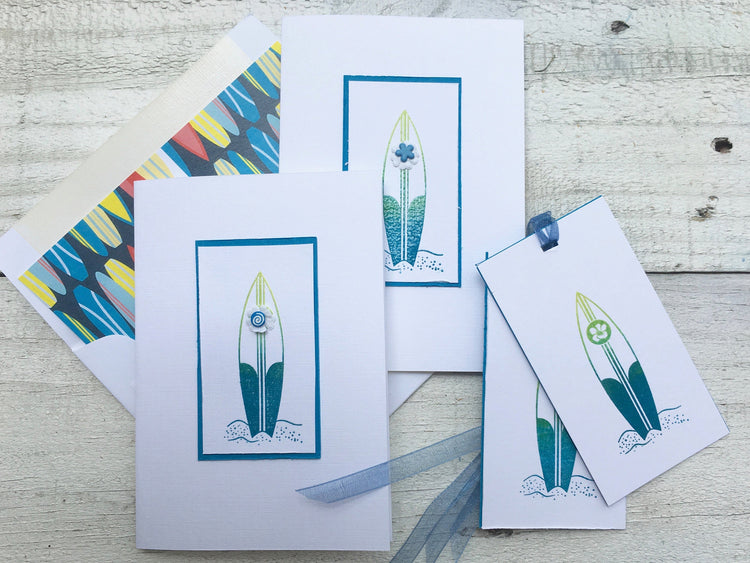 Surfing Note Cards, Hang Ten Note Cards, Surf Board Note Cards, Salt Life Note Cards, Personalized Stationery, Thank You Cards, Set Of 8