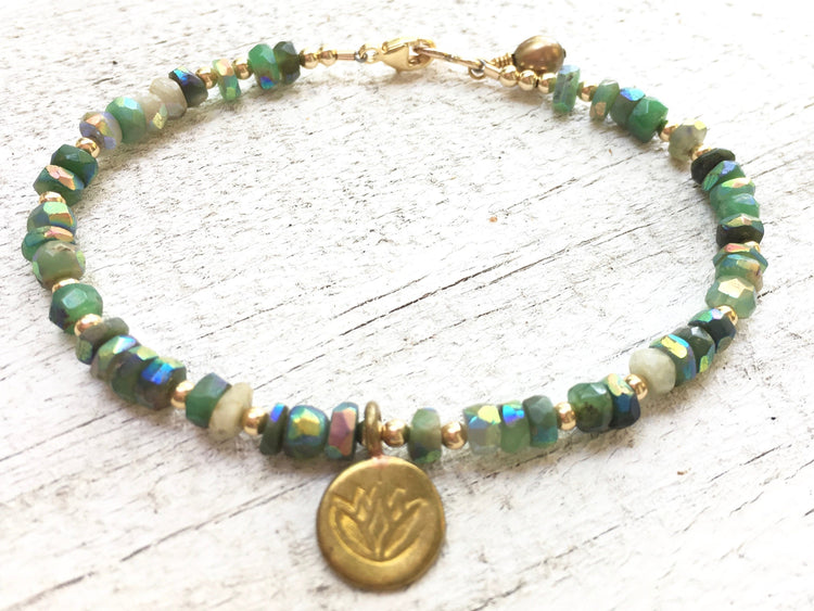 Chrysoprase Bracelet - Chrysoprase Jewelry -  Chrysoprase and Gold - Lotus Charm - Green Bracelet - Girlfriend's Gift - Women's Jewelry