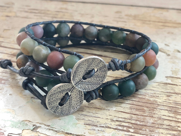 Jasper  Bracelet -  Jasper Jewelry - Jasper Leather Wrap - His and Her Bracelet - Women's Jewelry - Men's Jewelry - Boyfriend's Gift
