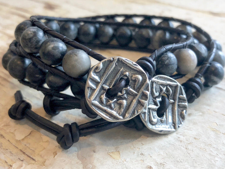 Black Leather Wrap Agate Bracelet