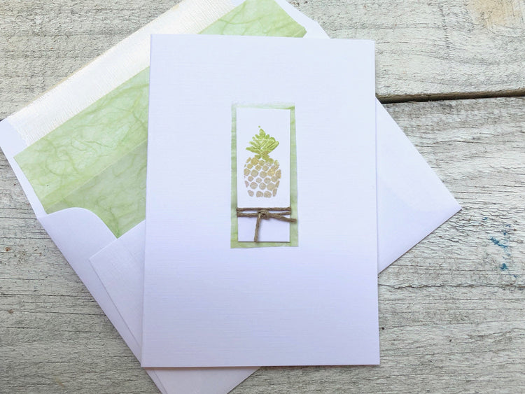 Pineapple Note Card - Pineapple Stationery - Pineapple Cards -House Warming Gift - Hostess Gift - Welcome Gift - Folded Pineapple Cards