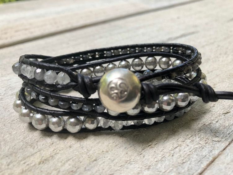 Pearl Bracelet - Pearl Leather Wrap - Quartz Bracelet - Pearl Jewelry - Quartz Jewelry - Black Triple Wrap -June Birthstone -Women's Jewelry