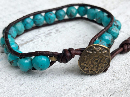Turquoise Bracelet - Turquoise Jewelry - Blue Bracelet - Turquoise Wrap  - Brass Button - Women's Jewelry - Men's Jewelry -