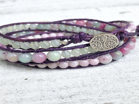 Jade Triple Wrap - Watermelon Jade - Purple Leather Wrap - Silver Button - Jade Jewelry -Jade Bracelet - Women's Bracelet - Girlfriend Gift
