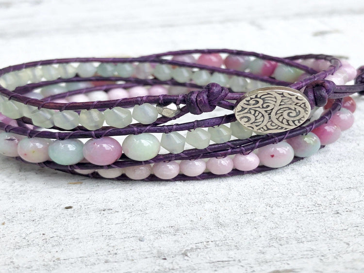Watermelon Jade Purple Leather Triple Wrap Bracelet