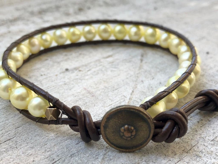 Pearl Wrap Bracelet - Pearl Leather Wrap - Pearl Bracelet -  Yellow Pearls - Women's Jewelry - Pearl Jewelry - June Birthstone