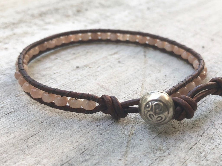 Sunstone Jewelry - Sunstone Bracelet - Sunstone Leather Wrap - Sunstone Wrap Bracelet - Sunstone Leather Bracelet - Om Button