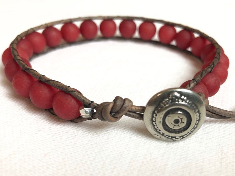 Red Jade Bracelet - Red Jade Jewelry - Red Jade Wrap Bracelet - Red Bracelet - Men's Bracelet - Women's Bracelet - Women's Jewelry