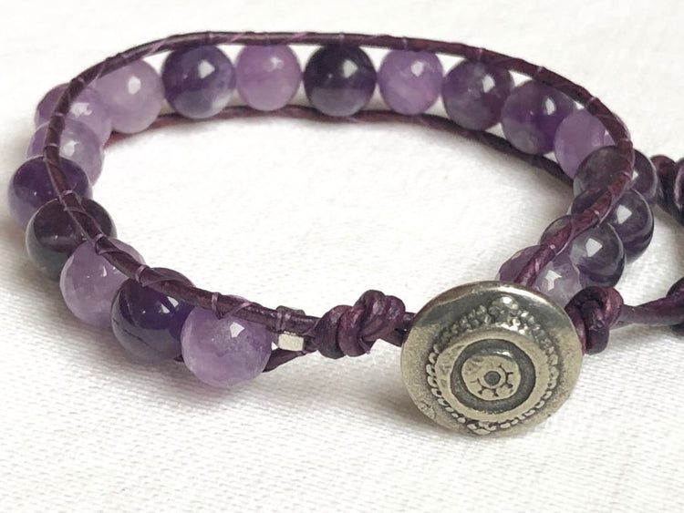 Amethyst Purple Wrap Bracelet