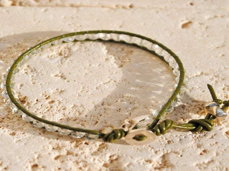 Moonstone Bracelet - Moonstone Jewelry - Silver Button - Women's Jewelry - Girlfriend's Gift - Men's Jewelry - Green Bracelet -Wrap Bracelet