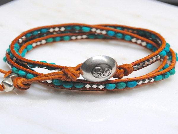 Turquoise  Leather Wrap - Turquoise Bracelet - Turquoise Jewelry - Silver Om Button - Girlfriend's  Gift - Women's Jewelry - Men's Jewelry