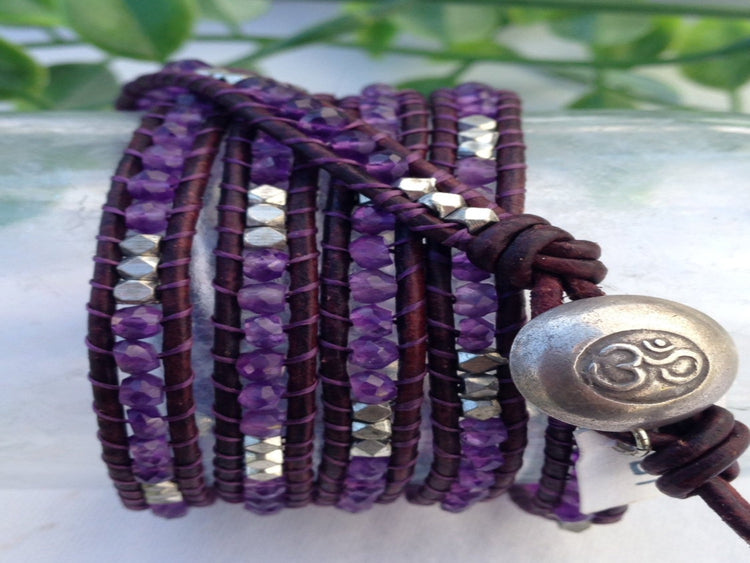 Amethyst Purple Five Wrap Bracelet