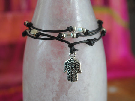 Hamsa Bracelet - Hamsa Necklace  - Hand of God Bracelet - Hand of God Necklace - Hamsa Anklet - Black Leather Wrap - Black Leather Bracelet