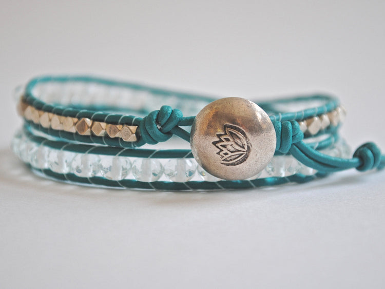 Aquamarine Water Lily Double Leather Wrap Bracelet