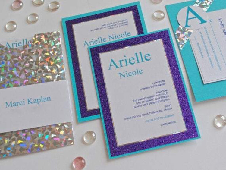 Bat Mitzvah Invitation - Turquoise Invitation - Glitter Invitation - Birthday Invitation - Sweet 16 Invitation - Quinceañera Invitation