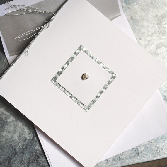 Pearl Card - Pearl Note Card - Elegant Note Card - Blank Note Card - Pearl Invitation - Pearl Announcement - Pearl Stationery
