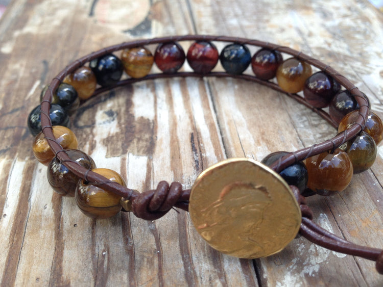 Tiger Eye Bracelet - Tiger Eye Wrap - Leather Wrap Bracelet - Tiger Eye Jewelry - Brass Greek Coin - Men's Jewelry - Women's Jewelry