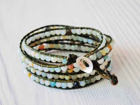 Amazonite 5 Wrap  Leather Bracelet