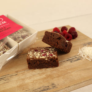 Raspberry & White Chocolate Brownie Bags (4 Bites)