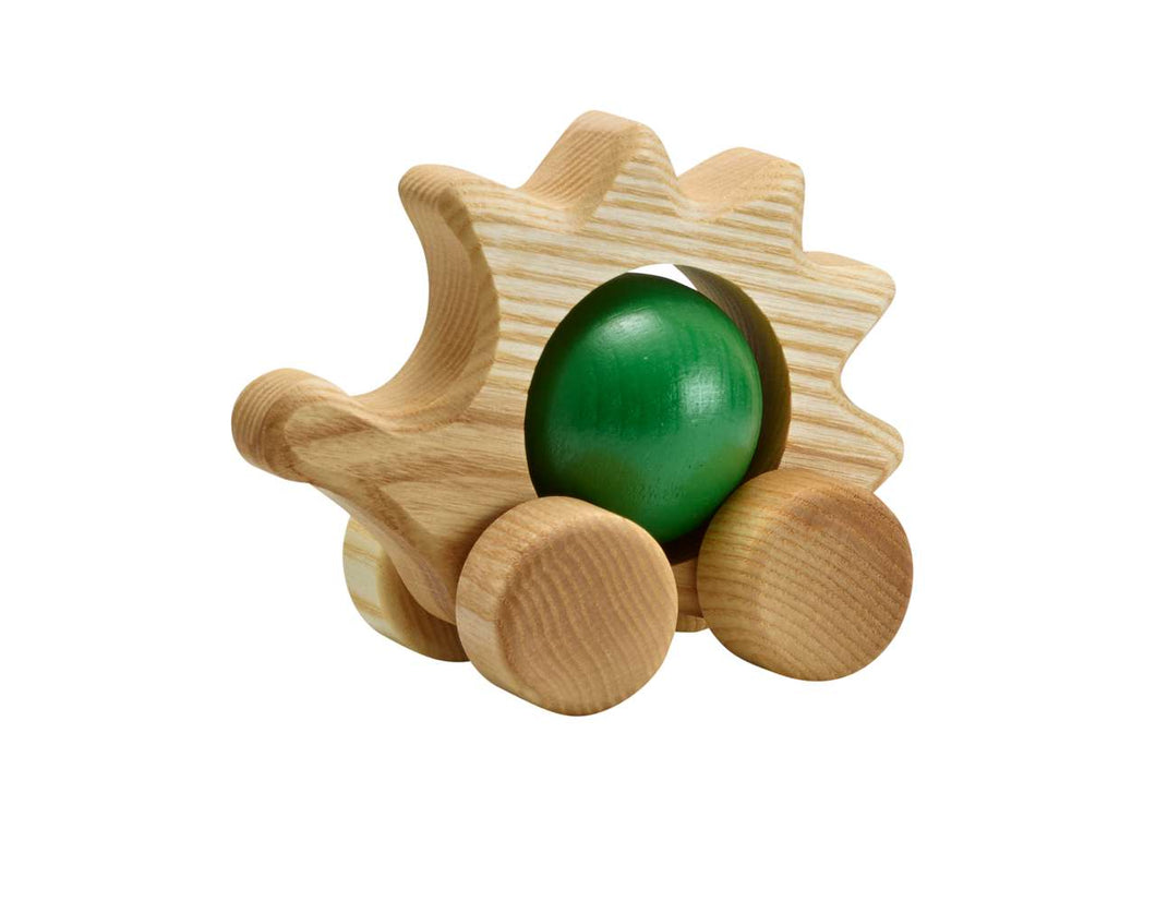 Hedgehog with rolling ball - green