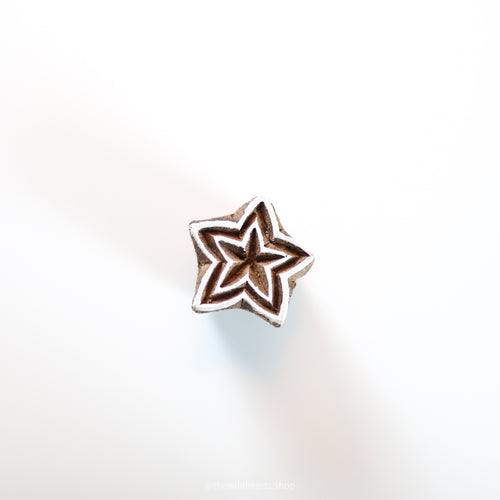Small STAR 2 handmade wooden stamp