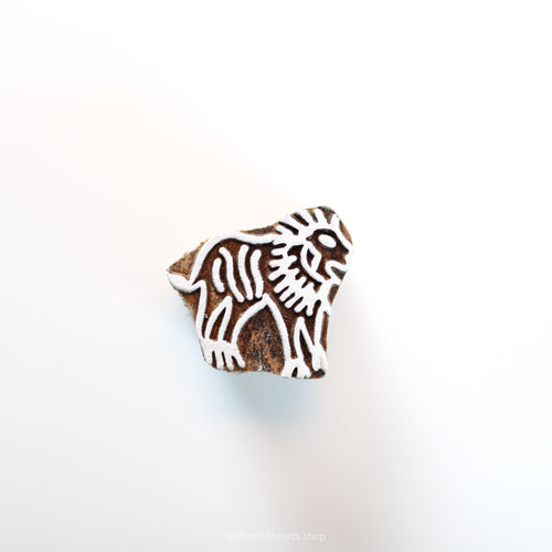 Small LION handmade wooden stamp