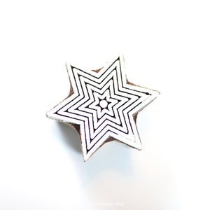 6-point STAR handmade wooden stamp